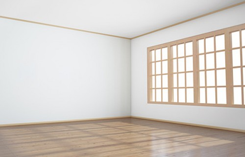 Empty room with big window